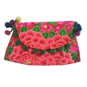 Embroidered Floral Pom Pom Clutches